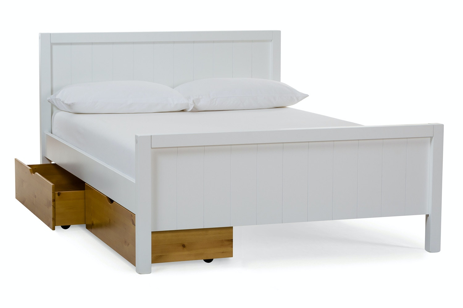 Urban White Double Bed | With 2 Natural Drawers