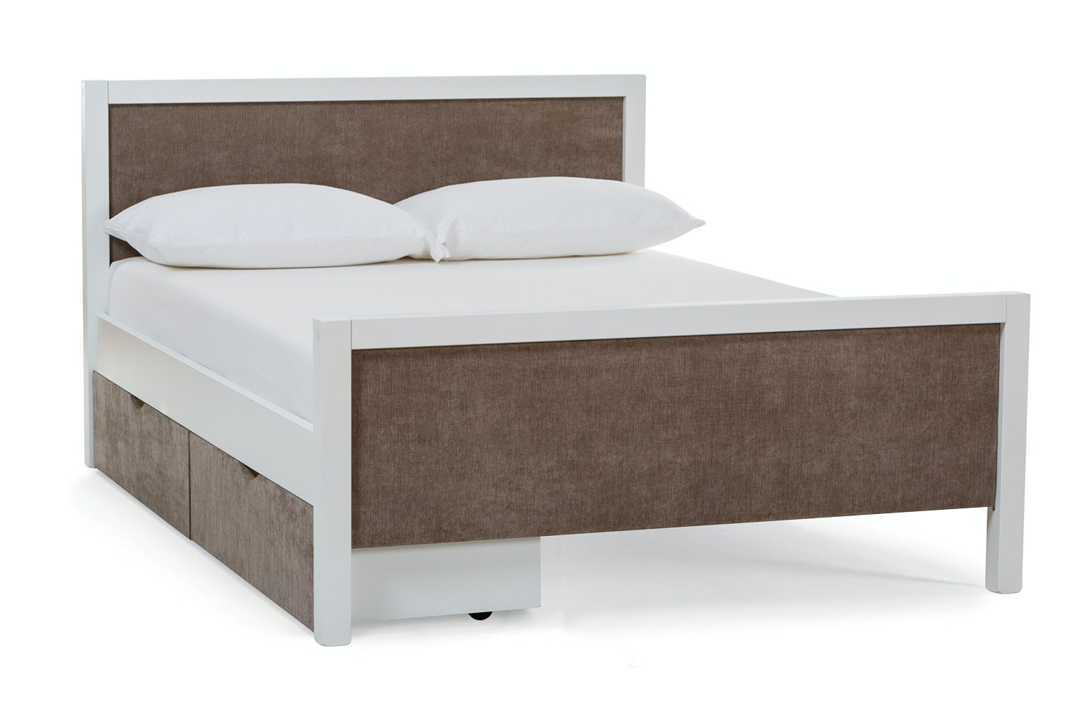 Urban White Small Double Bed | With 2 Taupe Fabric Drawers