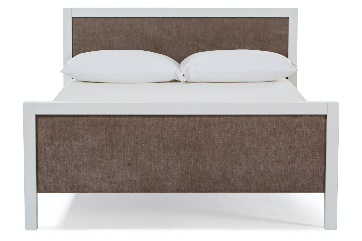 Urban White Double Bed | With Taupe Fabric