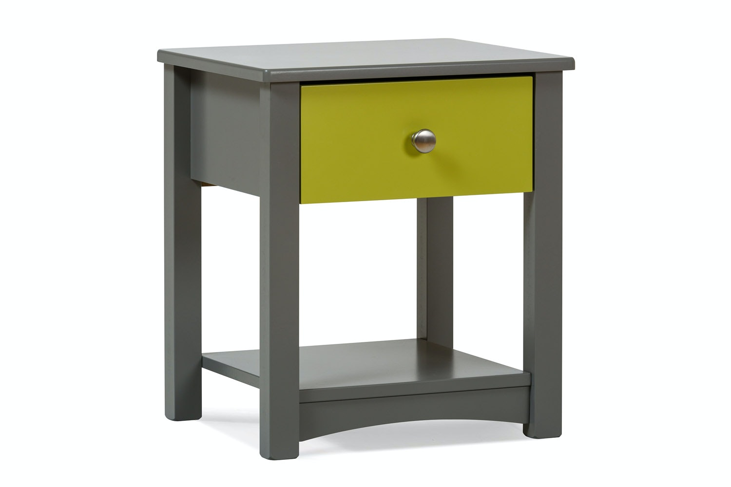 Urban Grey Bedside Locker | Green Drawer