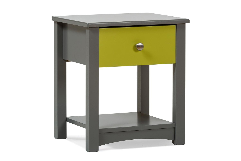 Urban Grey Bedside Locker | Green Drawer