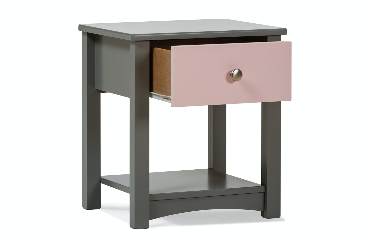 Urban Grey Bedside Locker | Pink Drawer