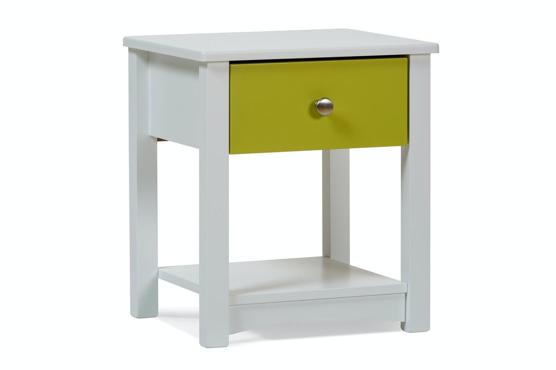 Urban White Bedside Locker | Green Drawer