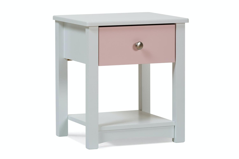 Urban White Bedside Locker | Pink Drawer