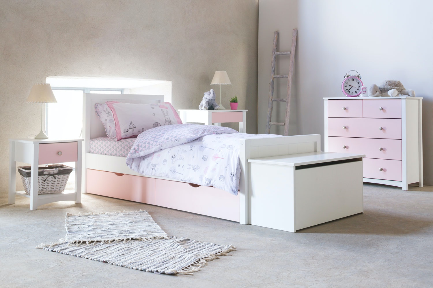 Urban White Single Bed | With Pink Drawer