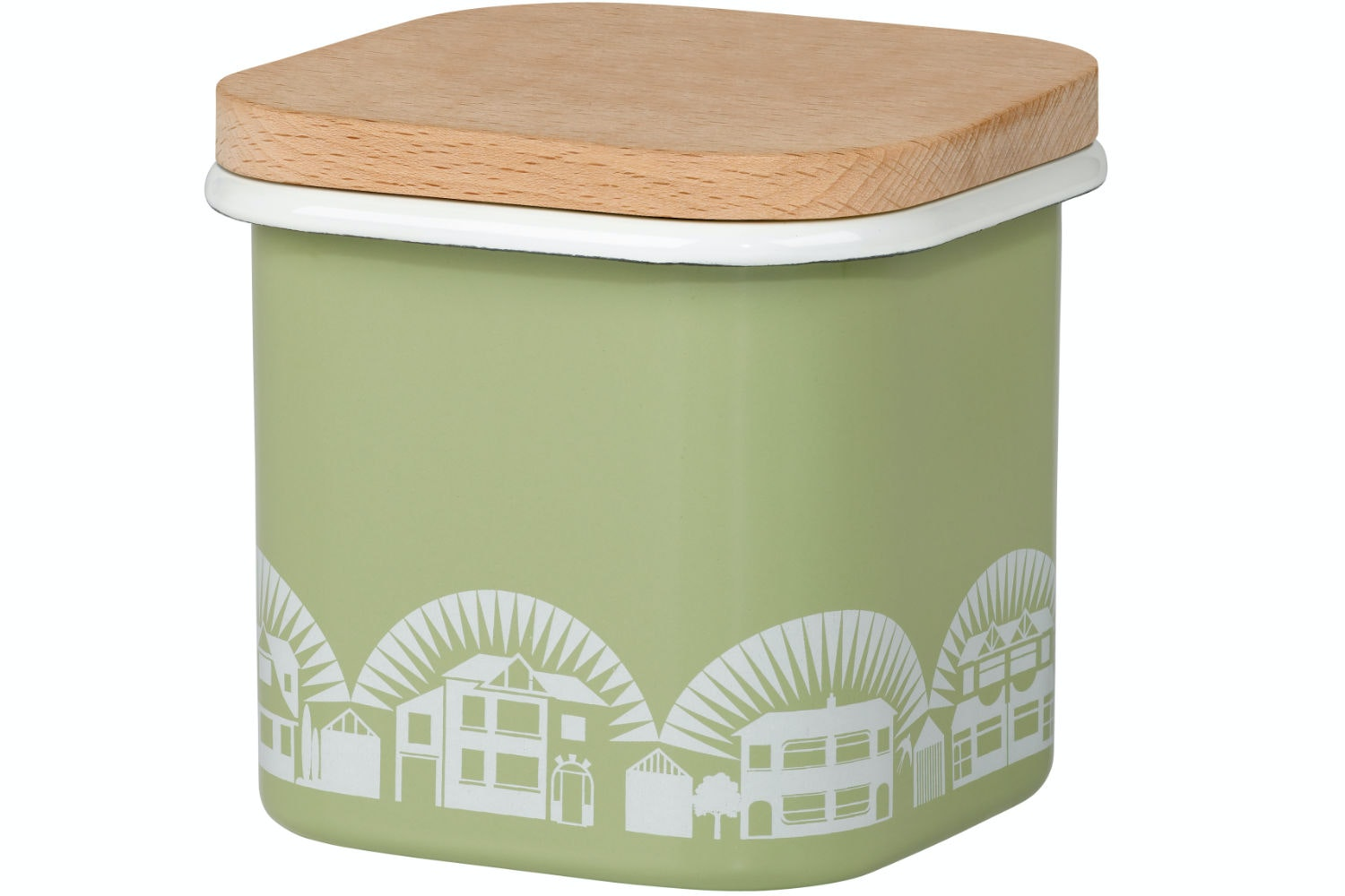 Small Enamel Storage Pot | Lichen Green
