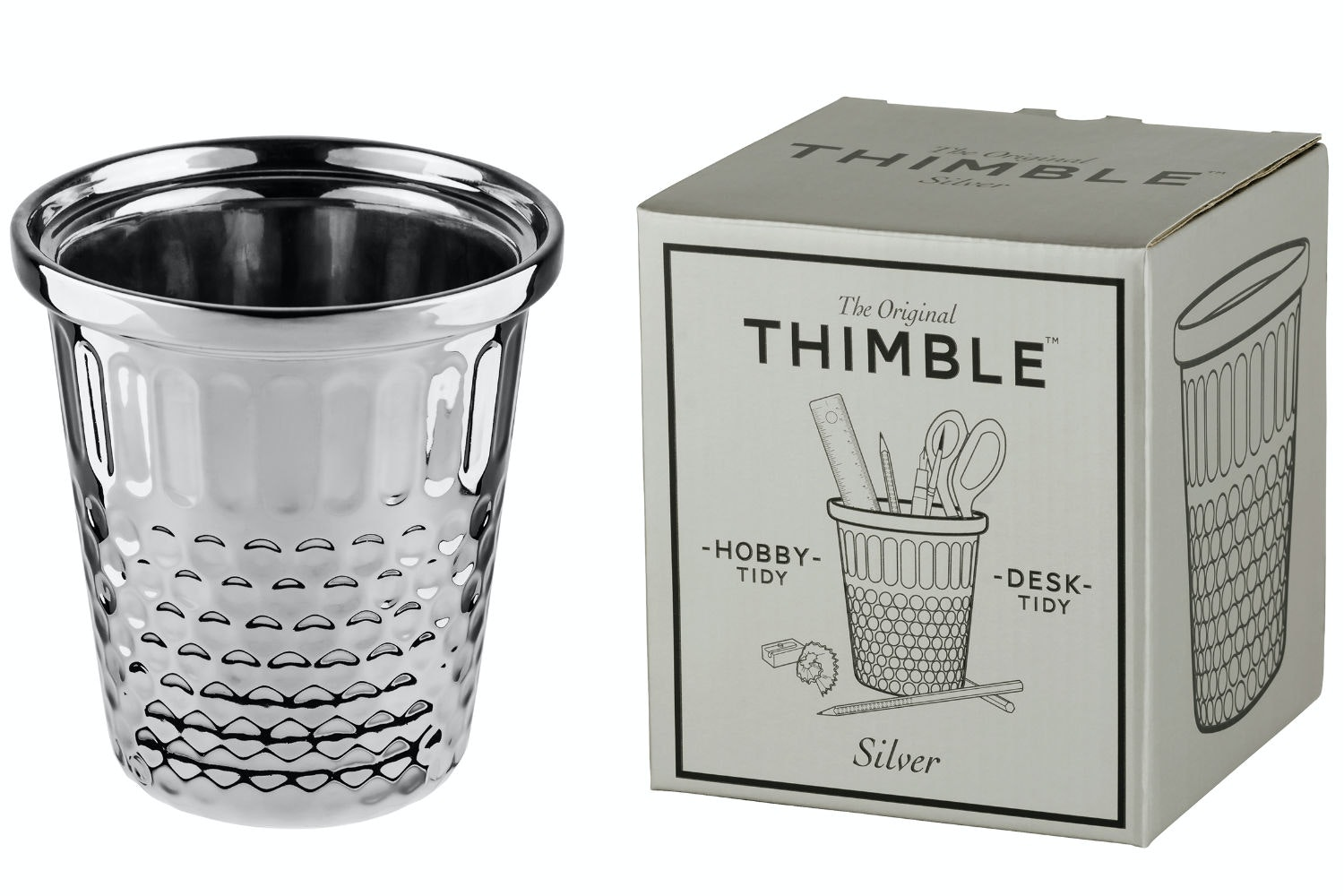 Giant Thimble Stationary Holder | Silver
