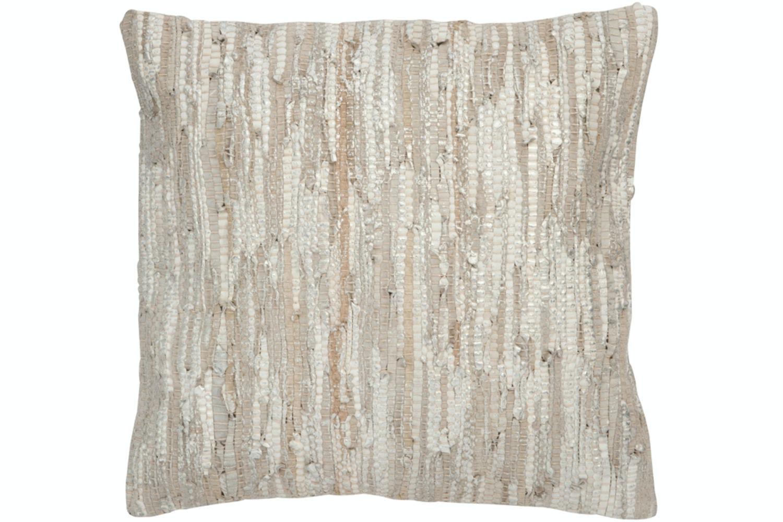 Leather Cushion | Silver & Grey