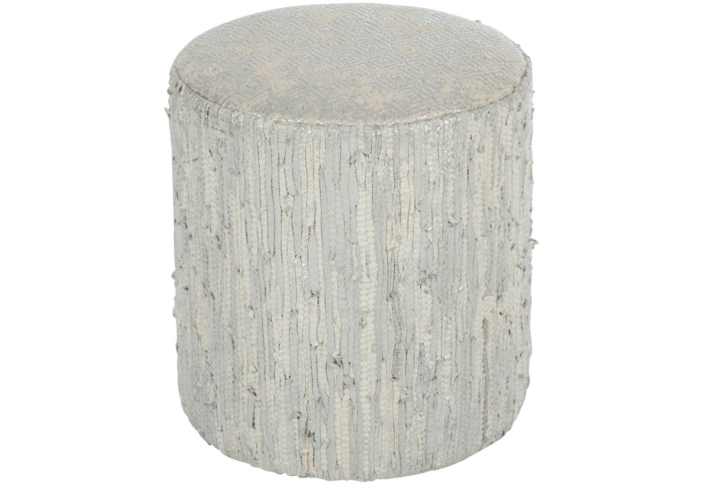 Leather Pouf | Silver & Grey