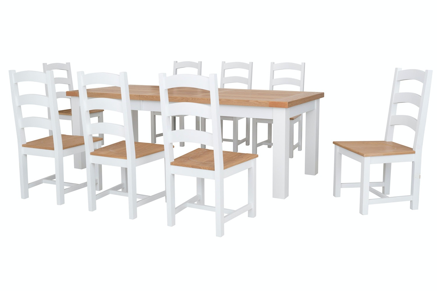 New Haven White 9-Piece Dining Set | 180cm Extending Table