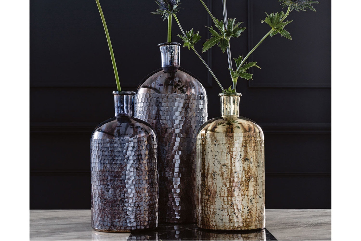 Textured Vase | Shiny Grey