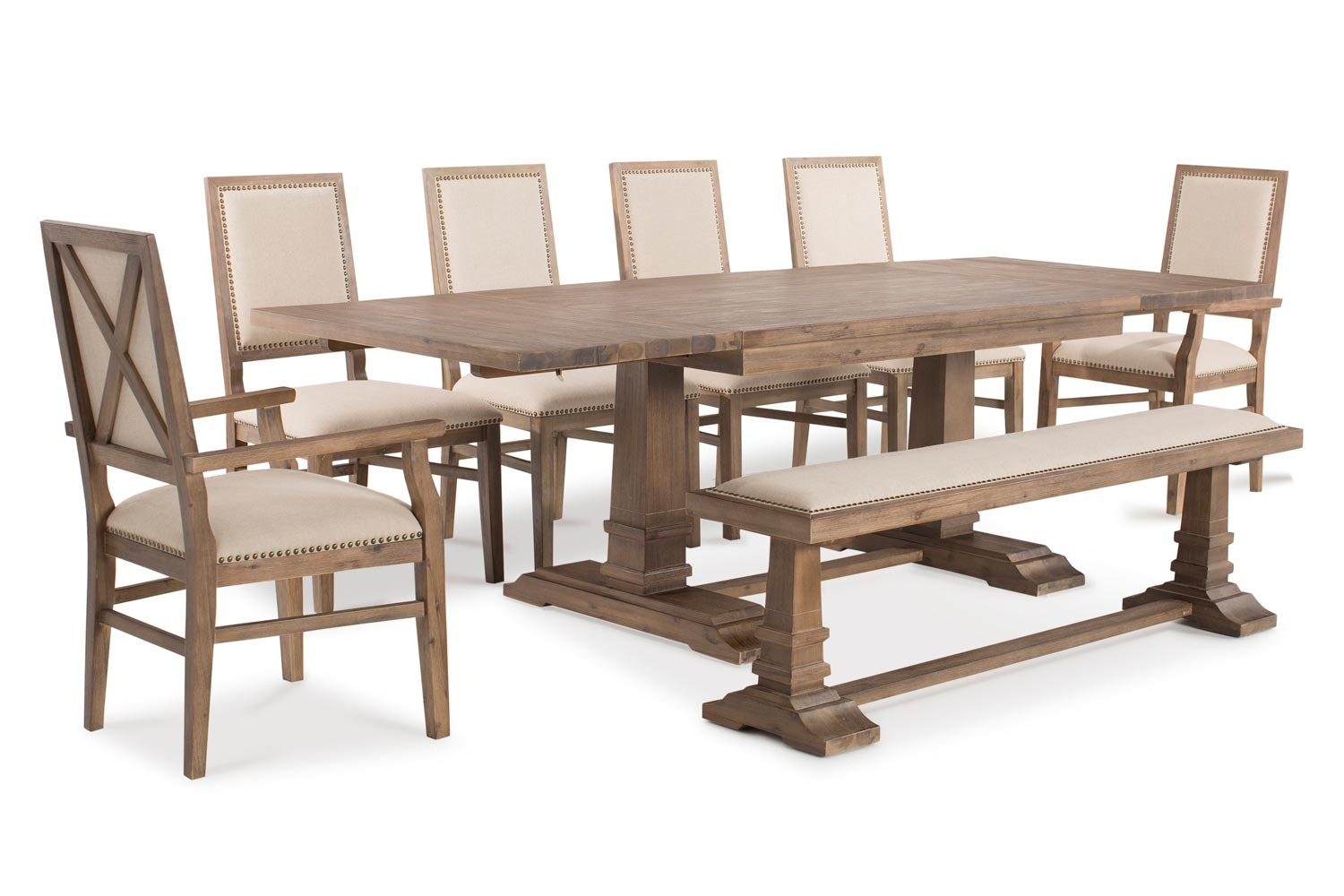 Larissa Extending Dining Set With Bench, 4 Dining Chairs And 2 Carver Chairs|  8 ...