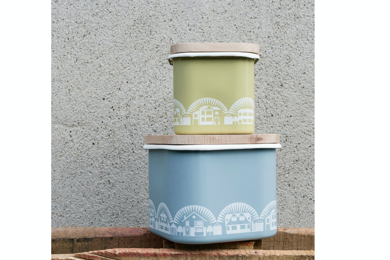 Small Enamel Storage Pot | Lichen Green