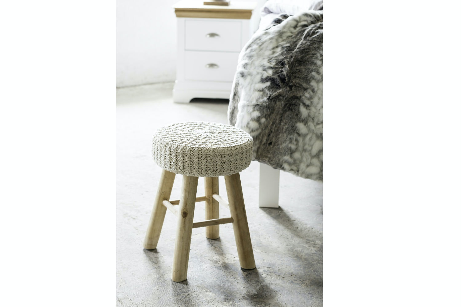 Stool with Cotton Seat