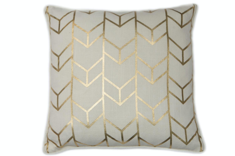 Gold Geometric Print Cushion