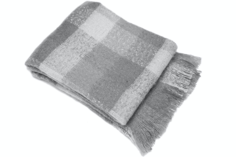 Grey Faux Mohair Throw