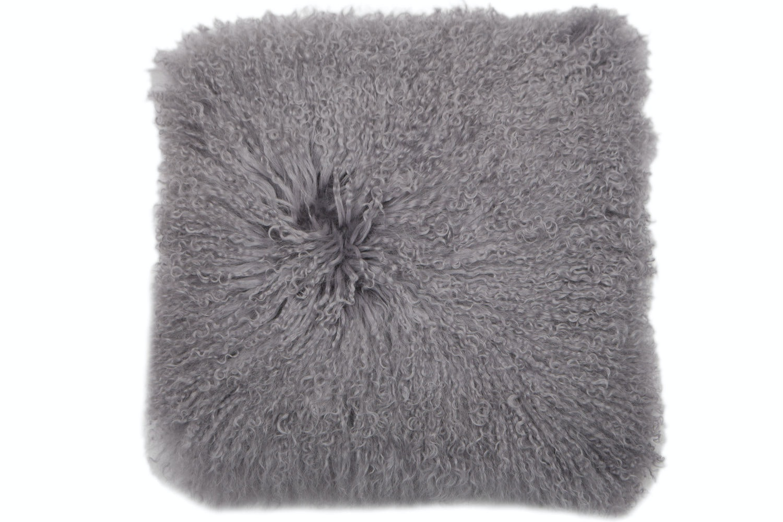 Mongolian Lamb Cushion    Dark Grey