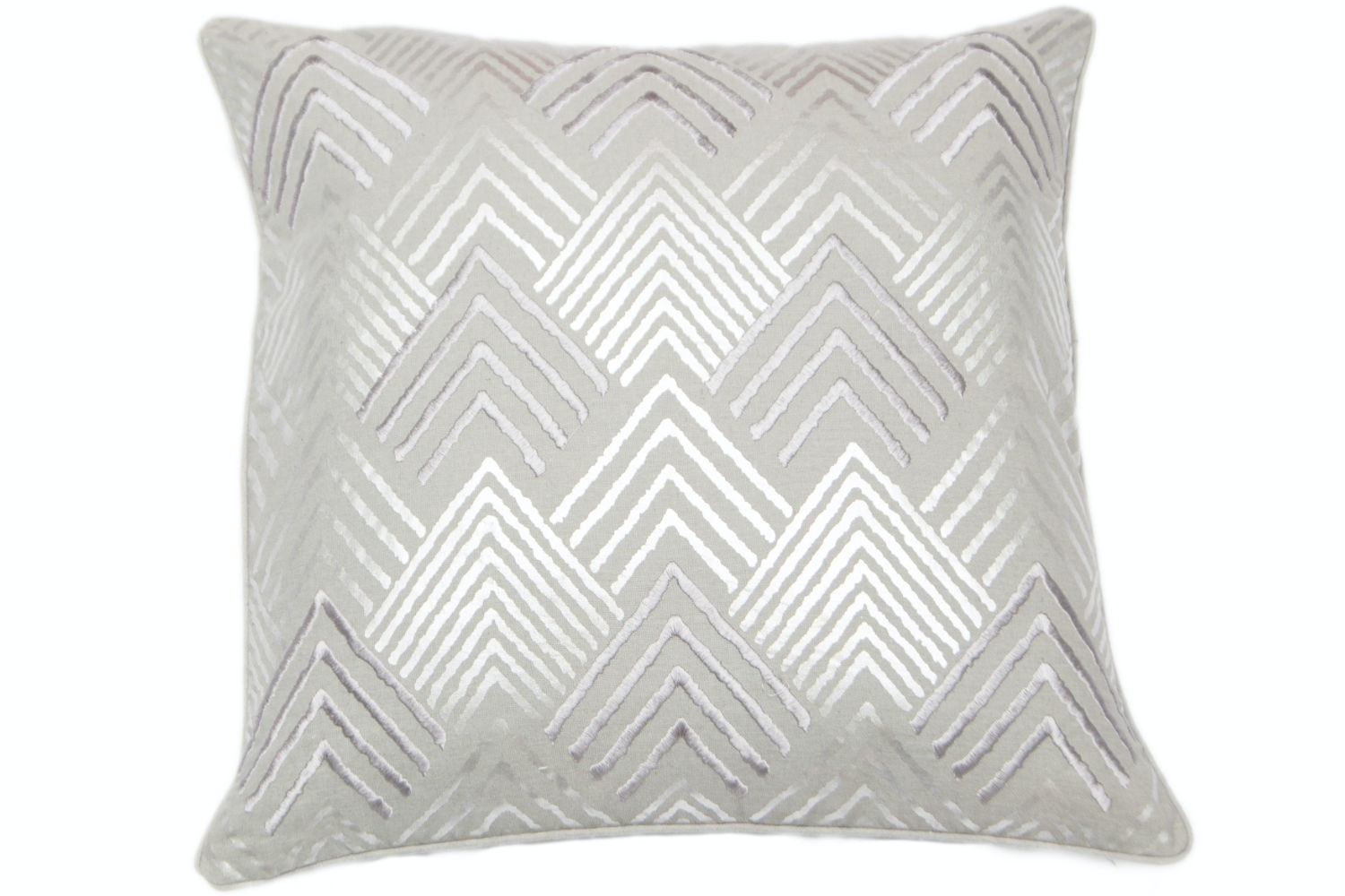 Geometric Silver Foil Cushion