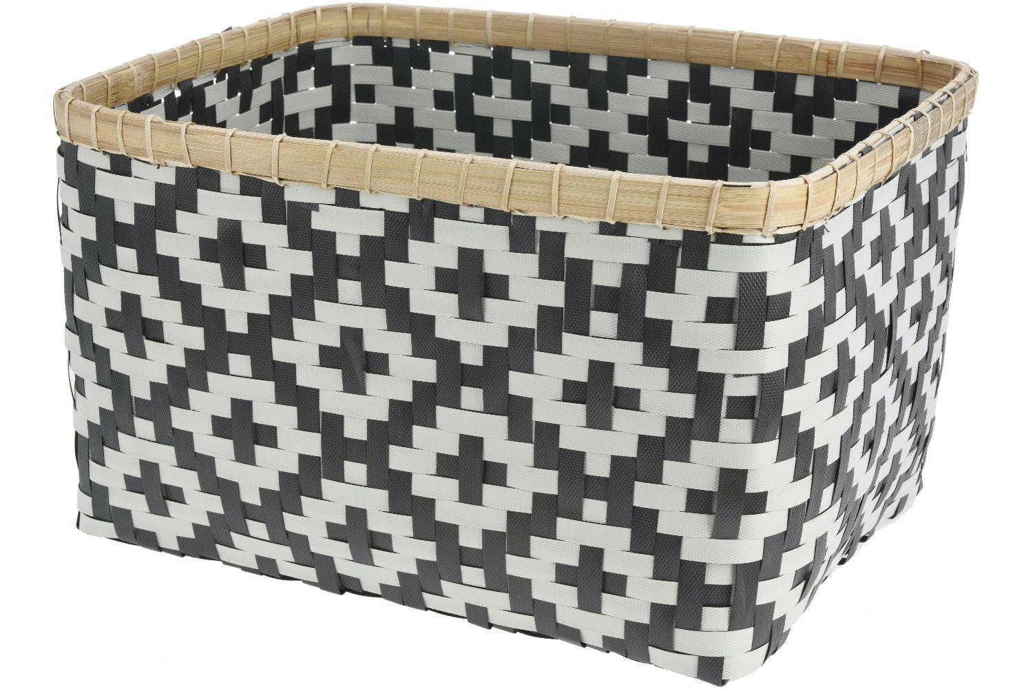 Straw Basket with Bamboo Edge