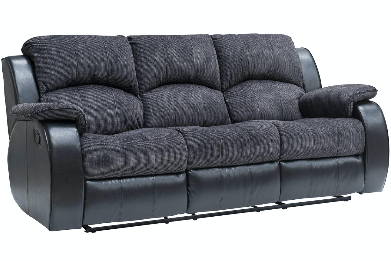 Kayde 3 Seater Recliner Sofa Black Ireland ~ Three Seater Recliner Sofa