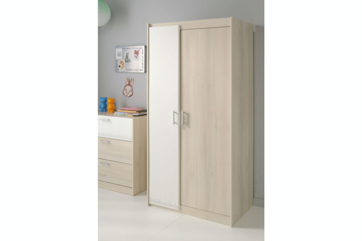 Charlie Wardrobe | 2 Door | Acacia & White