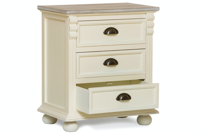 Charlotte 3 Drawer Bedside Locker   Cream & Truffle
