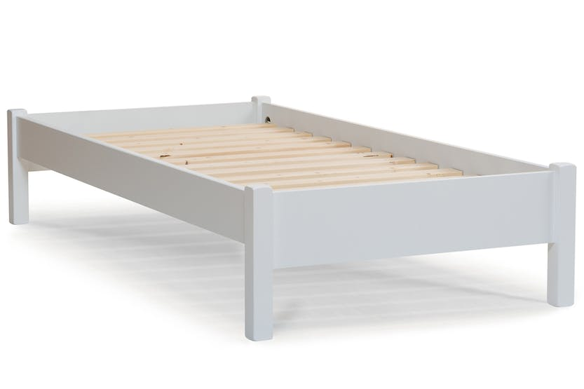 Emily low low bed frame 3ft white ireland for Low bed frames for lofts