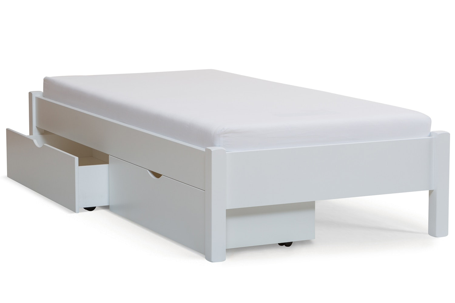 Emily Low Low Bed Frame with Underbed Drawers | 3ft | White