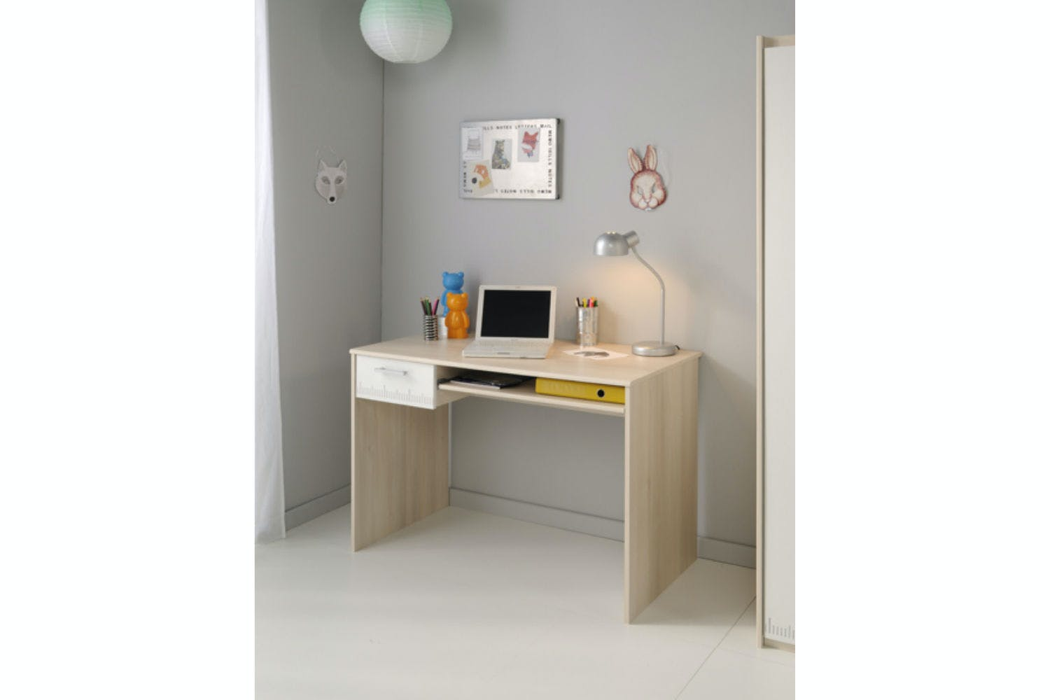 Charlie Bedroom Desk | 1 Drawer | Acacia & White