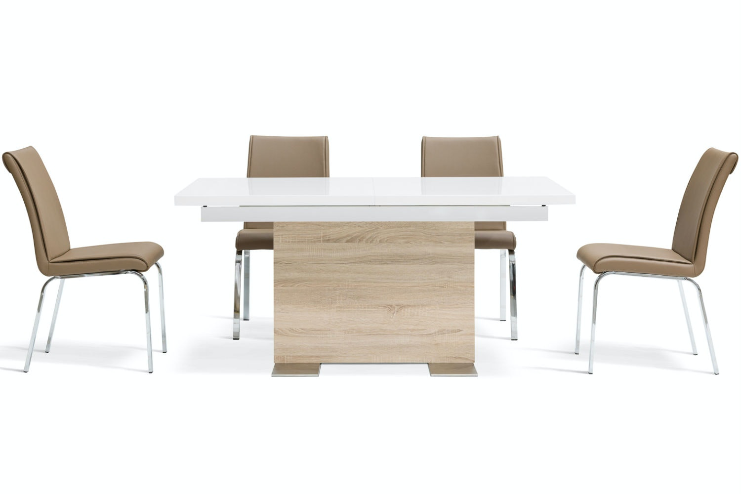 Lennox 5 Piece Dining Set | Leonora Dining Chairs Cappuccino
