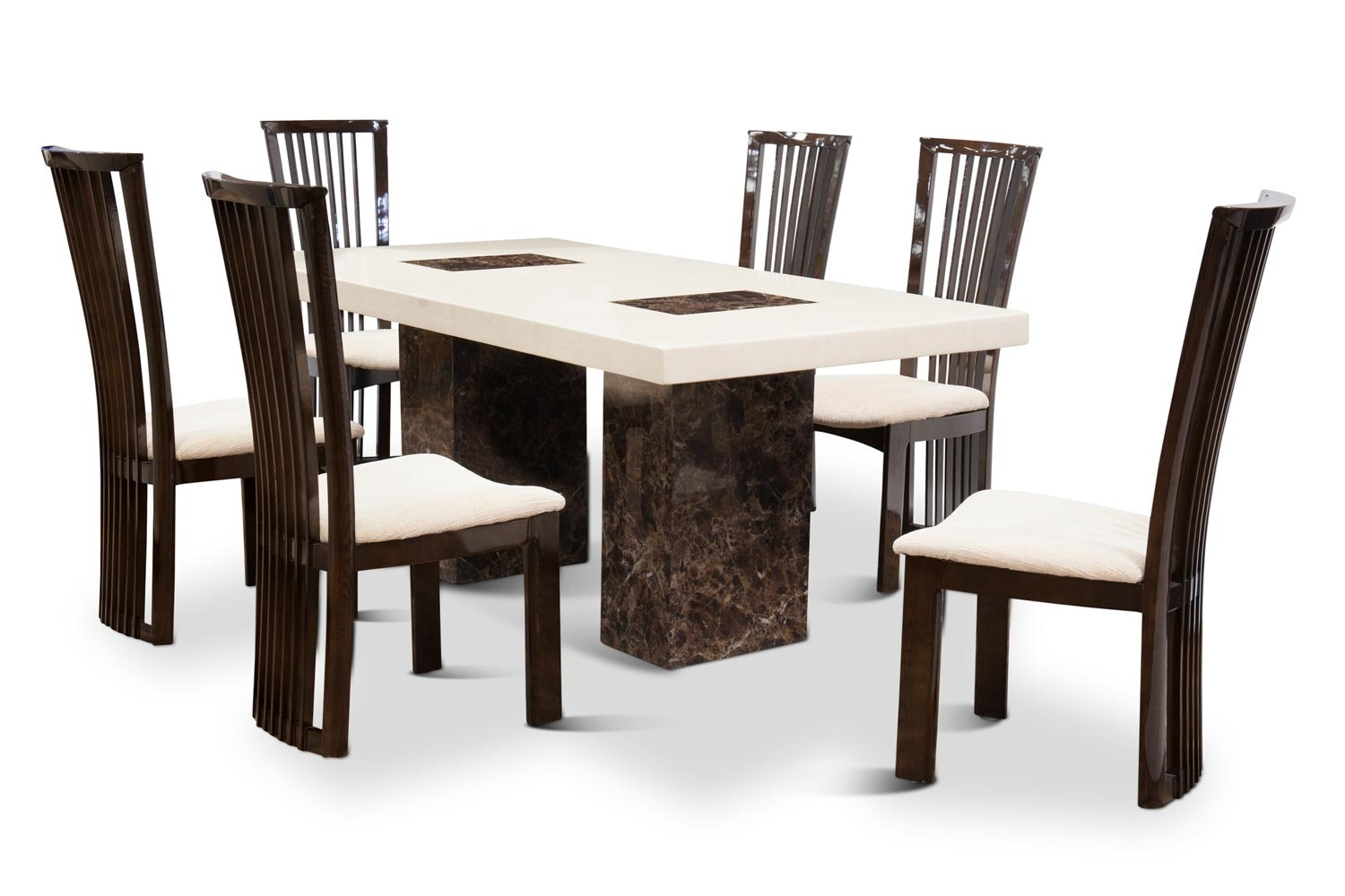 Strasbourg 7-Piece Dining Set | Cream & Brown