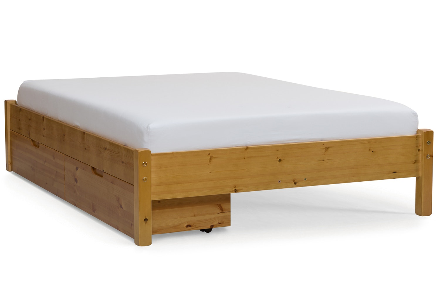 Emily Low Low Bed Frame with Underbed Drawers | 4ft | Natural