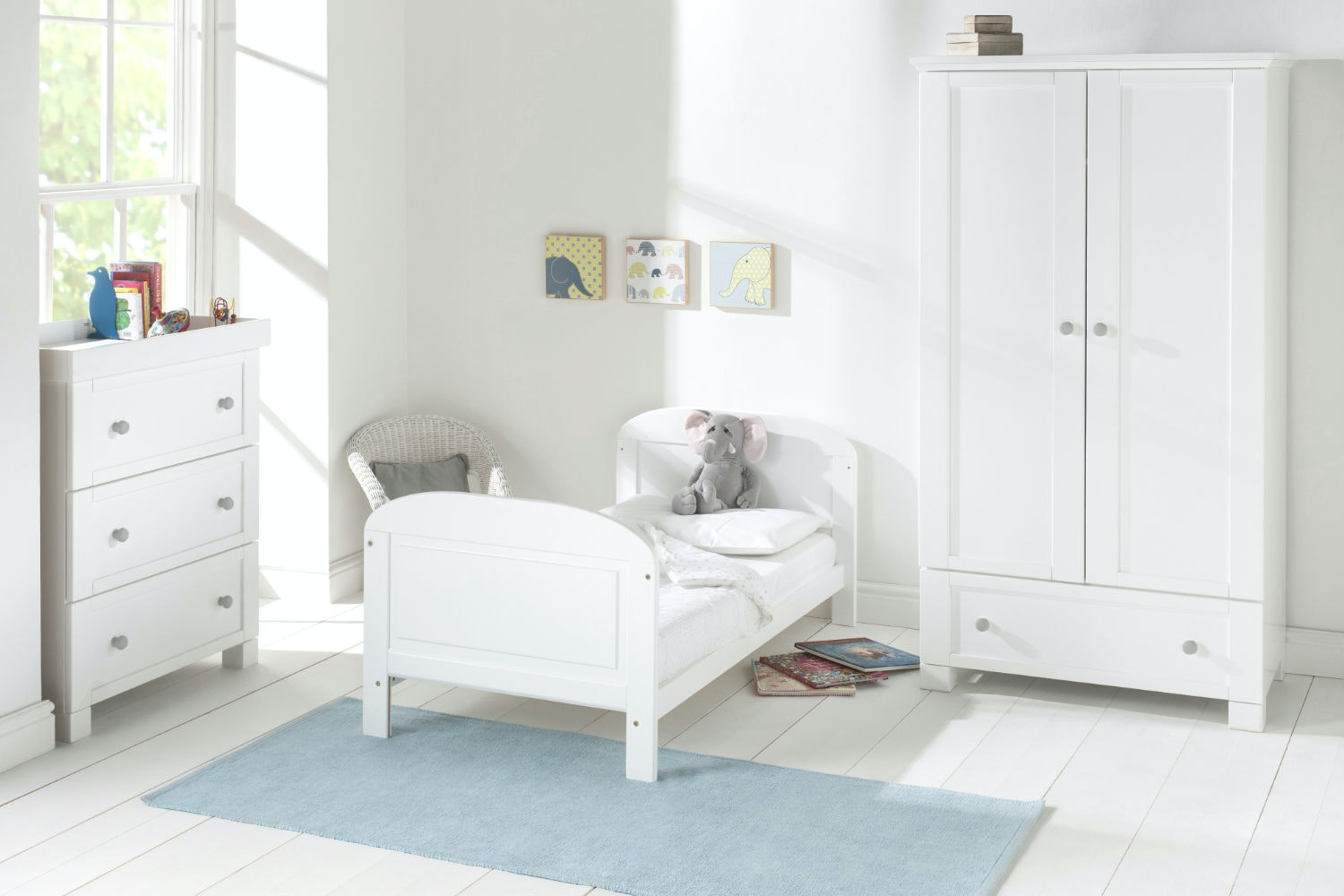 Angelina 2 in 1 Cot Bed | White/Grey