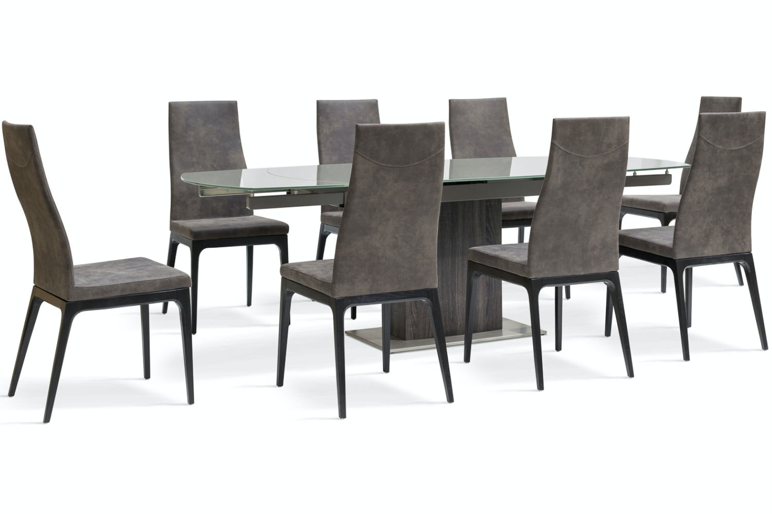 Lucci Dark 9-Piece Dining Set | High Calvino Dining Chairs