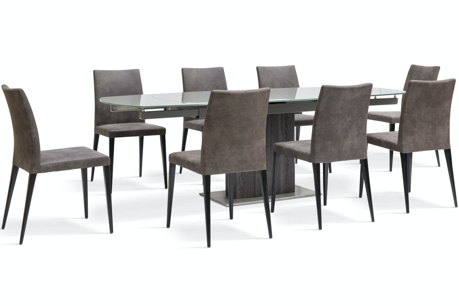 Lucci Dark 9-Piece Dining Set | Low Calvino Dining Chairs