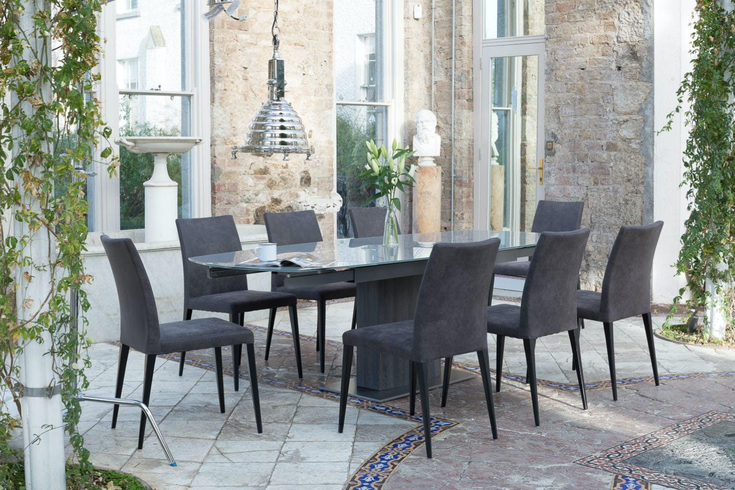 Lucci dark 9 piece dining set high calvino dining chairs for High chair dining set
