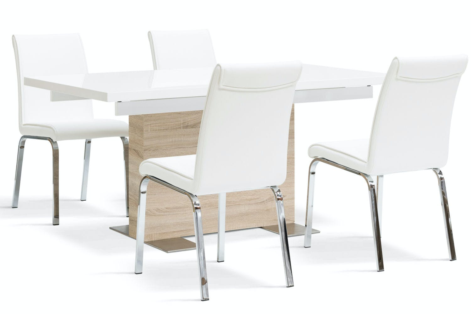 Lennox 5 piece dining set leonora dining chairs white for Jardin 8 piece dining set