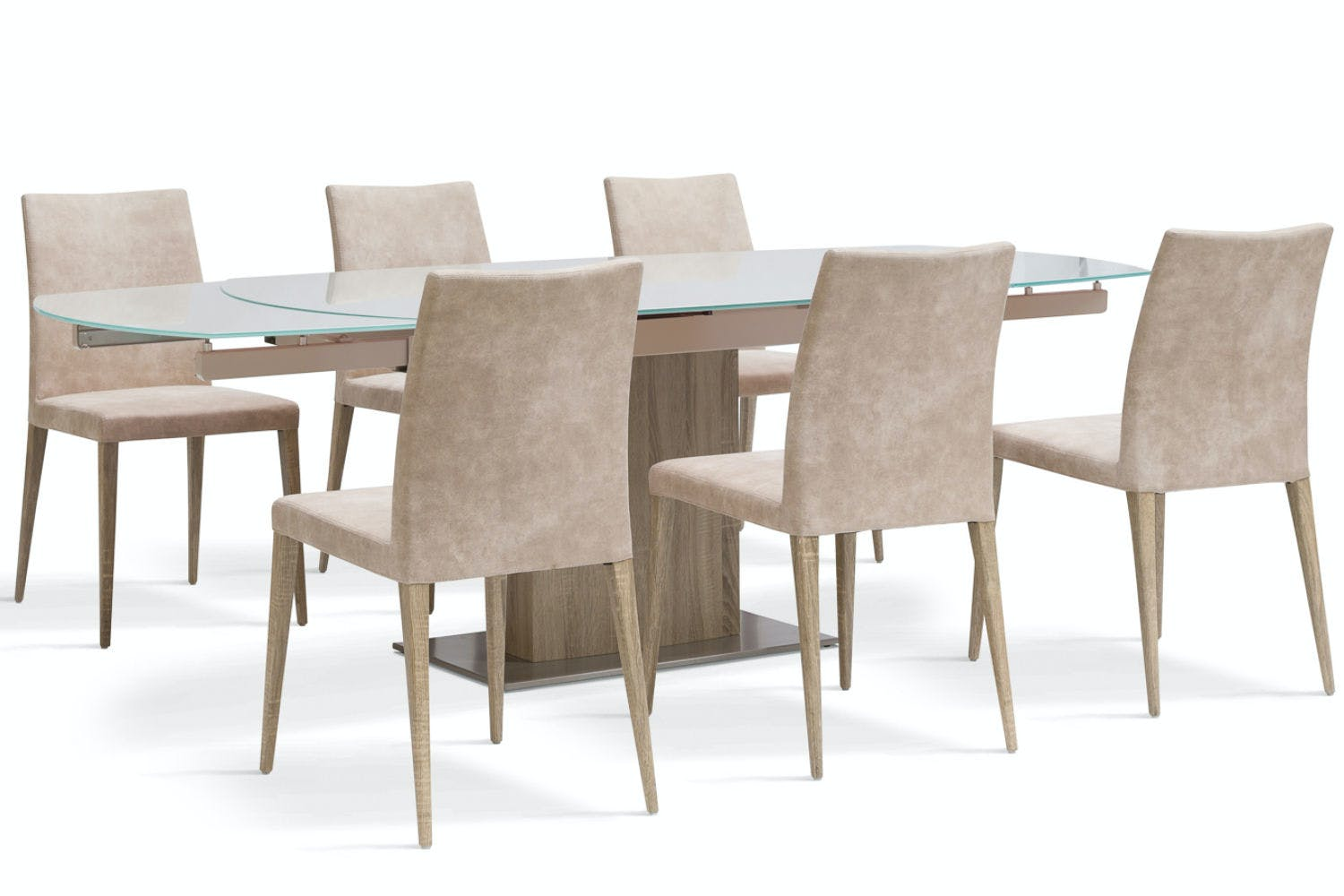 Lucci light 7 piece dining set low calvino dining chairs for 7 piece dining set