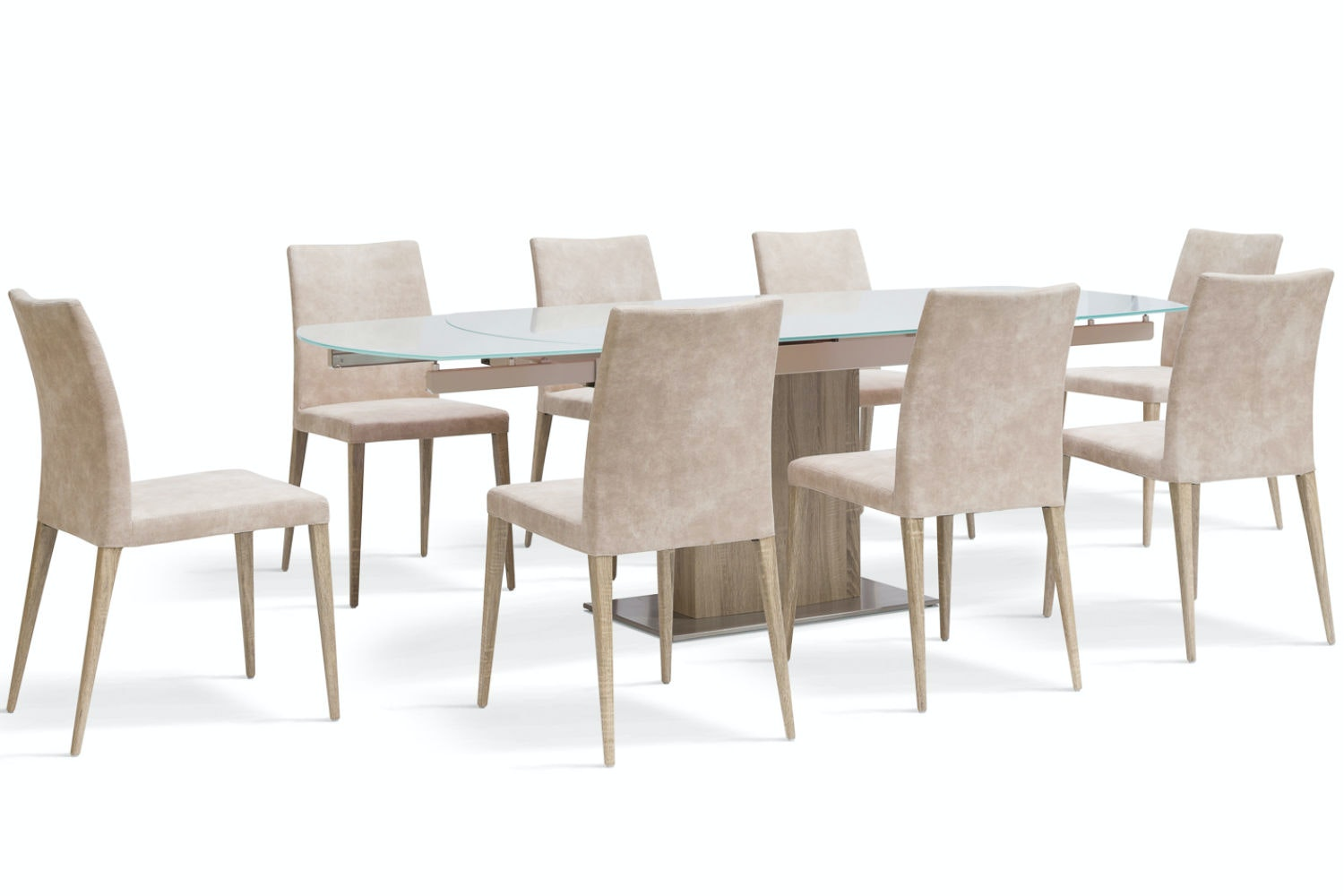 Lucci 9 Piece Dining Set | Low Calvino Dining Chairs | Light