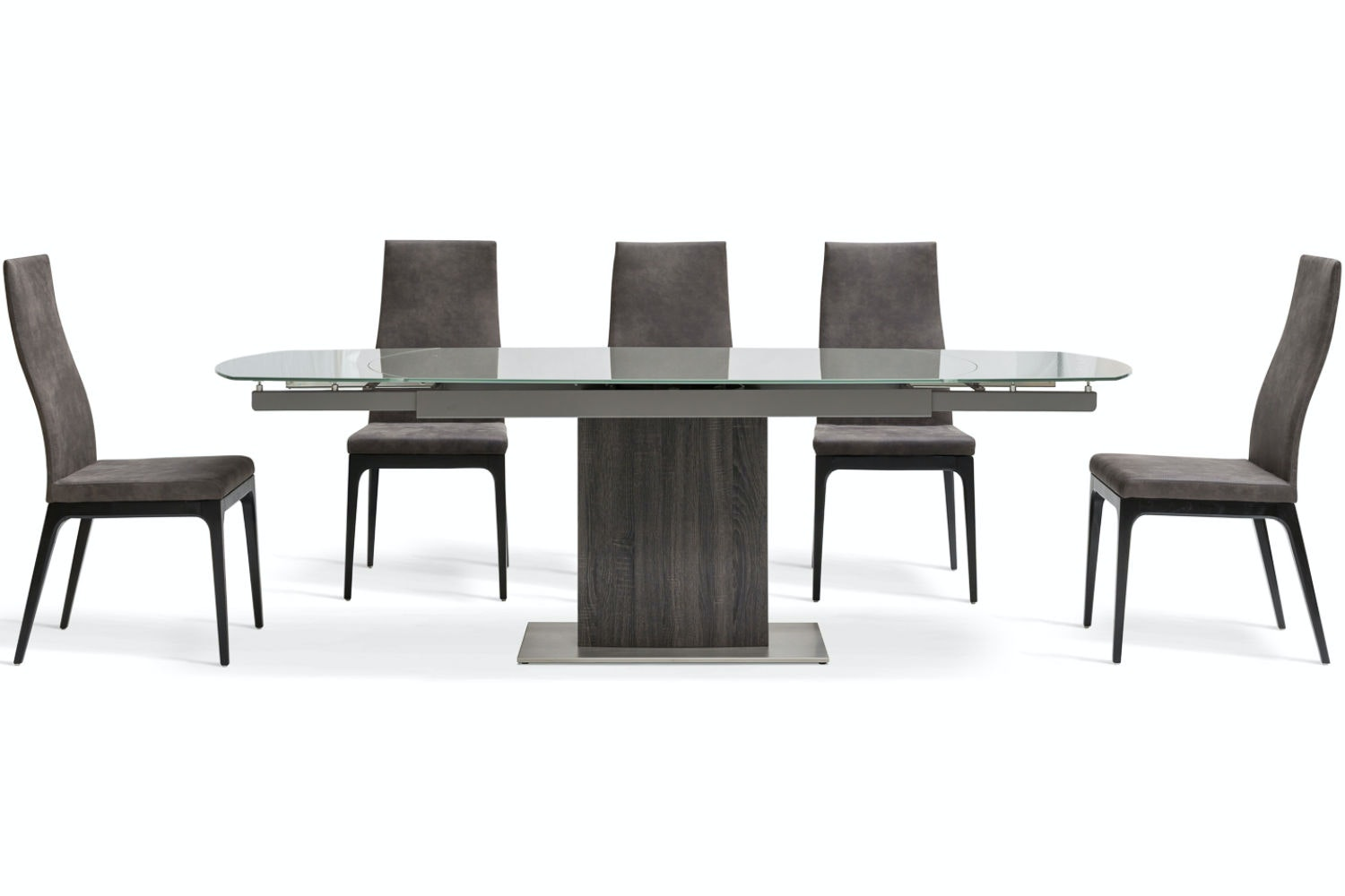 Lucci Dark 7-Piece Dining Set | High Calvino Dining Chairs