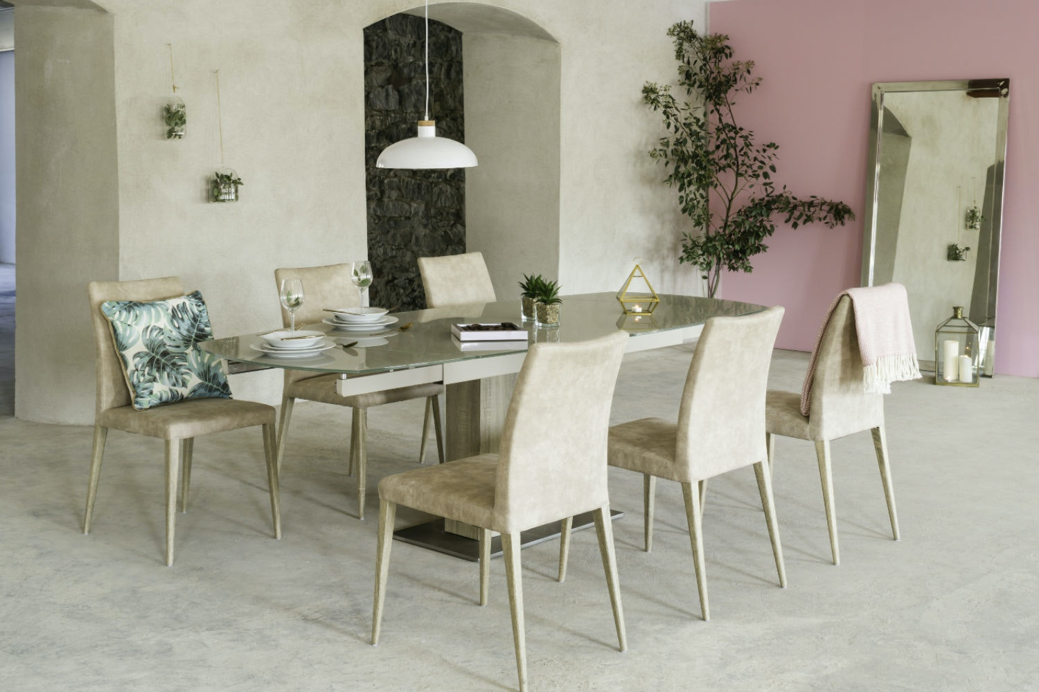 Lucci Light 9-Piece Dining Set | High Calvino Dining Chairs