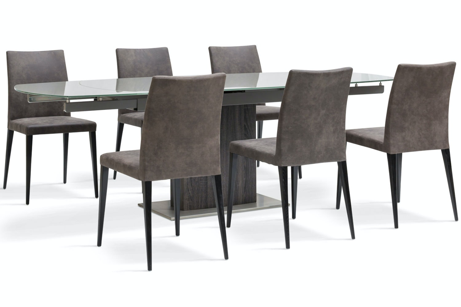 Lucci Dark 7-Piece Dining Set | Low Calvino Dining Chairs
