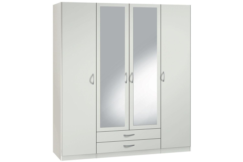 Jutzler Sonja Hinged 4 Door 2 Drawer Wardrobe   White & Mirror