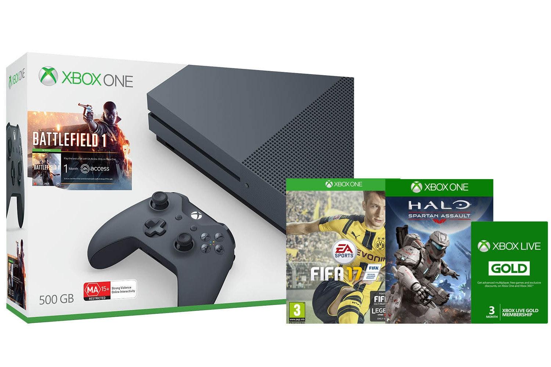 Xbox One S 500GB Storm Grey | FIFA 17 & Battlefield 1 Bundle