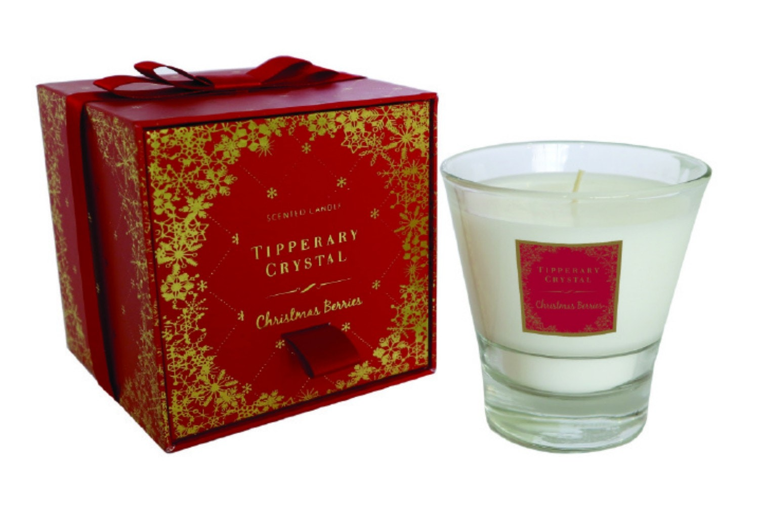 Tipperary Crystal Christmas Berries Filled Tumbler Candle