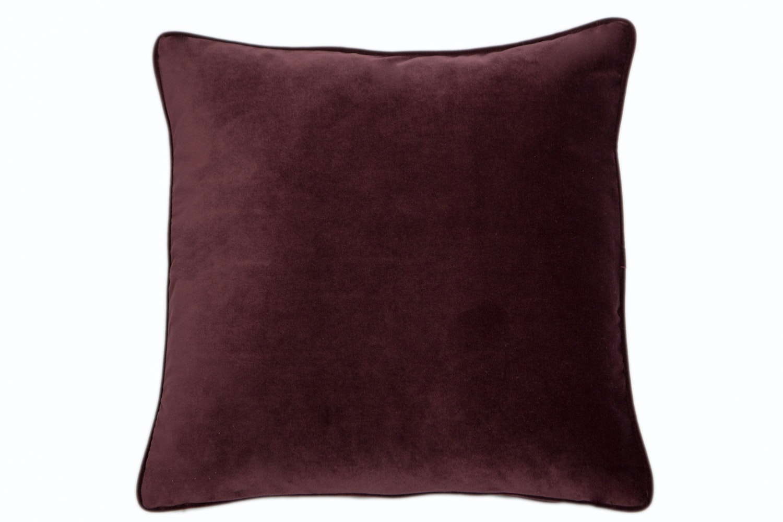 Velvet Piped Mulberry Cushion | 43X43cm