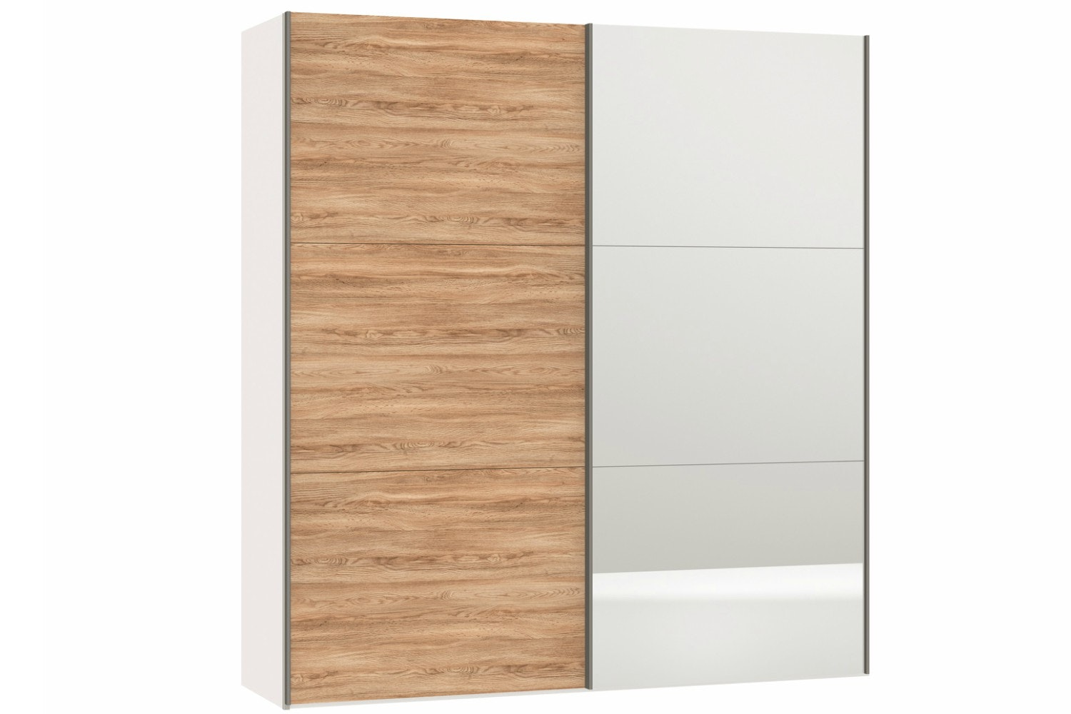 Geneva Sliding Wardrobe 203Cm | Oak + Mirror