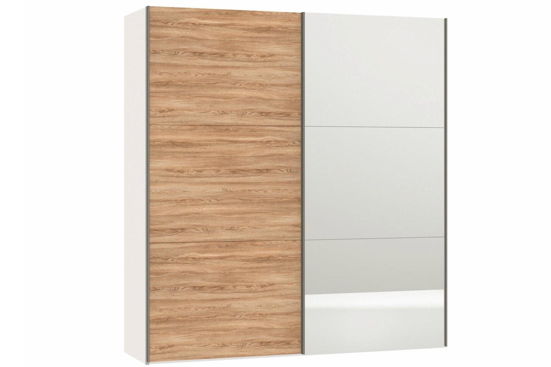 Geneva Sliding Wardrobe 152Cm | Oak + Mirror