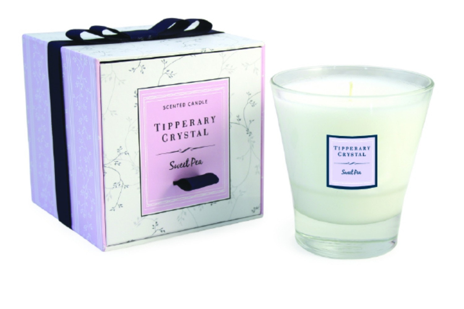 Tipperary Crystal Sweet Pea Filled Tumbler Glass Candle