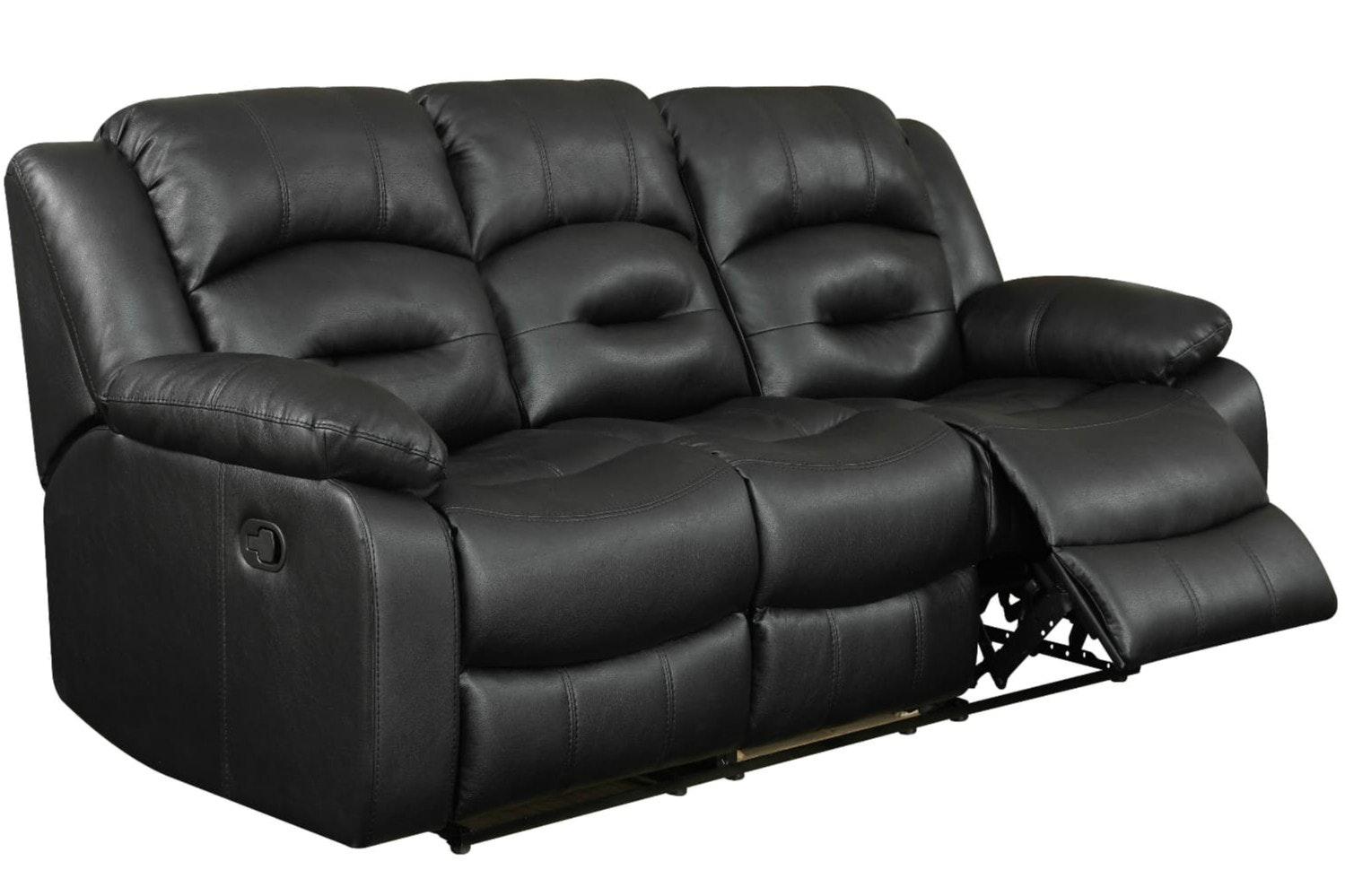 Hunter 3 Seater Recliner Sofa | Black